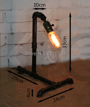 Edison Lamp Bulb Vintage Table Lamps Personalized Water Pipe Table Lights Desk Book Lamp E27 Loft Vintage Lighting