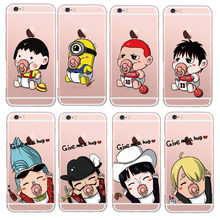 Super Cute Minions SLAM DUNK One Piece Transparent Ultra Thin Soft Silicone Phone Case Back Cover For Apple iPhone 6 6S 5S Coque