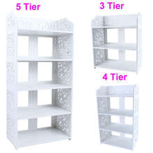 1Pcs White Wood Carving Shelf 3/4/5 Tier