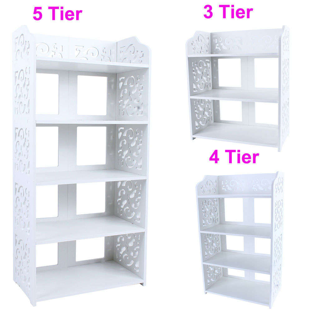 1Pcs White Wood Carving Shelf 3/4/5 Tier Shoe Shoes Rack Holder Storage Home Organizer(China (Mainland))