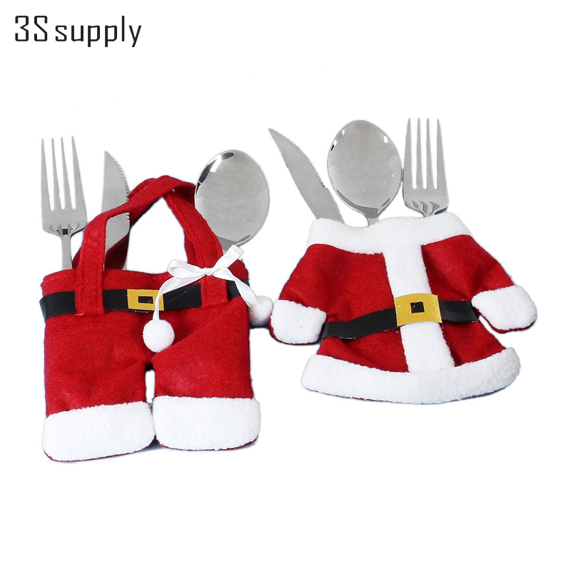 Fashion 6 Suit/lot Christmas Festive & Party Supplies Santa Clothes Cultery Cover Suit Tableware Decoration Christmas Gift(China (Mainland))