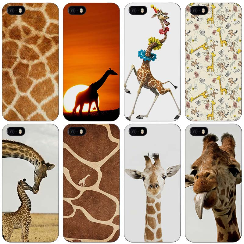 Giraffe Cubs Black Plastic Case Cover Shell for iPhone Apple 4 4s 5 5s SE 5c 6 6s 7 Plus(China (Mainland))