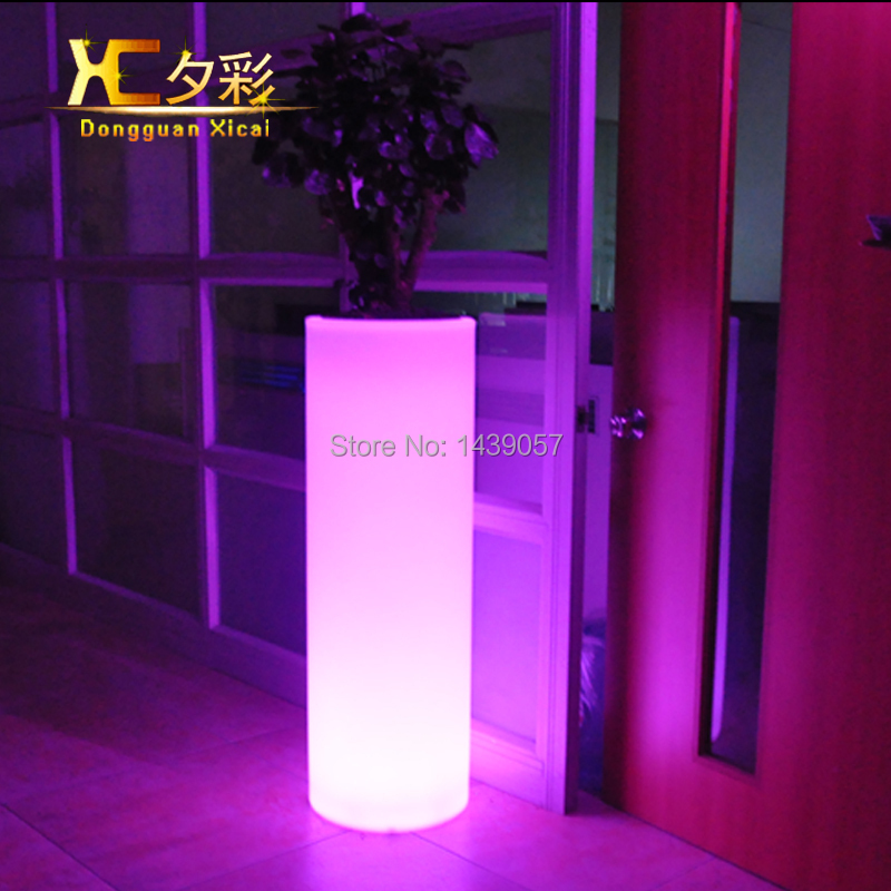 High plastic led flower floor pot color changing luminous - Color changing room lights ...