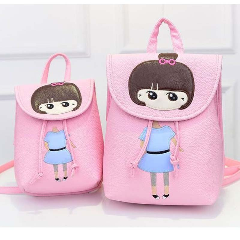Korean Style Cute Carton Bags Kids Backpack Children School Bags For Girls Pu Waterproof Baby Primary School Leisure Bags 4Color(China (Mainland))