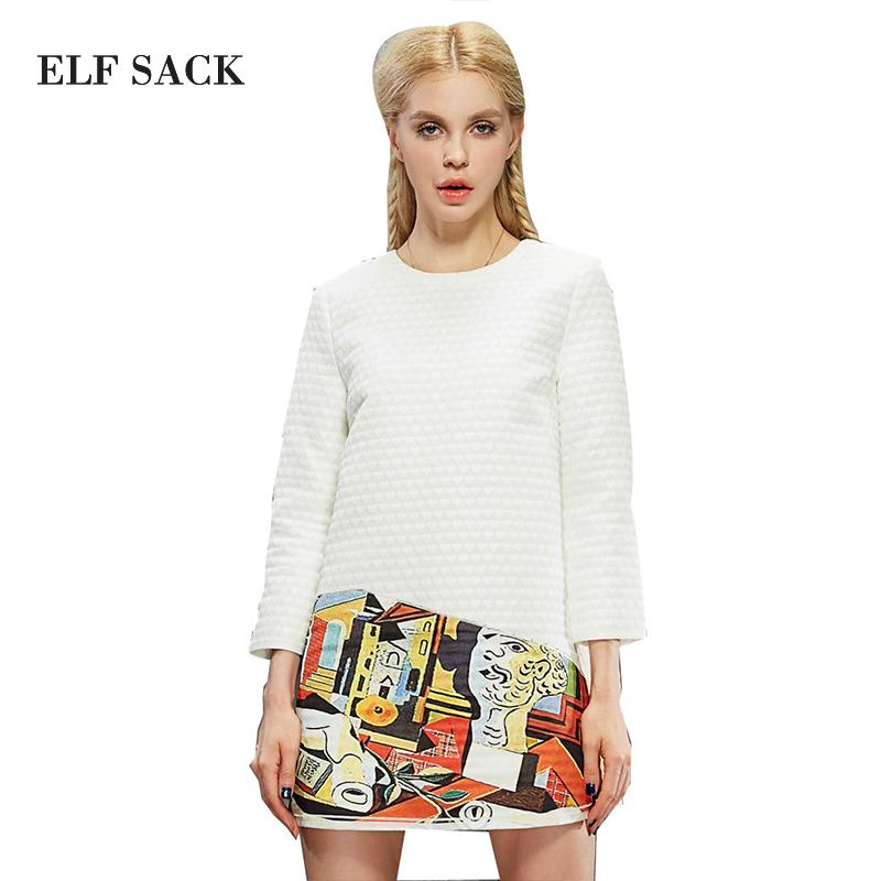 Elf SACK autumn female fashion patchwork print three quarter sleeve one-piece dress