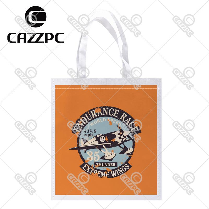 Retro orange Air Racing Badge Pattern Print Custom individual lightweight polyester fabric Reusable Bag gift bag(China (Mainland))