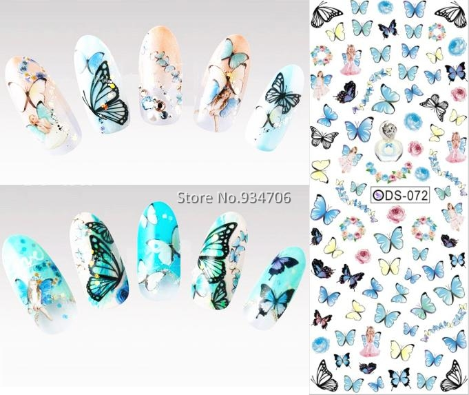 DS072 2015 Nail Design Water Transfer Nails Art Sticker Colored Butterfly Nail Wraps Sticker Watermark Fingernails Decals(China (Mainland))
