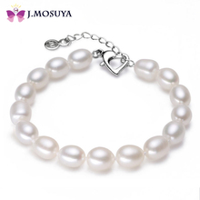 8-9 mm Natural Freshwater Pearl Bracelet For Women Pink/Purple/White Pearl Jewelry With Heart Clasp(China (Mainland))