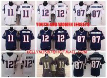 100% Stitiched,New England Patriots,Tom Brady,Rob Gronkowski,Julian Edelman for youth,KIDS,women(China (Mainland))