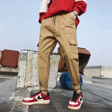 Streetwear Linten Casual Broek Mannen Zwarte Slanke Heren Joggers Broek Side-zakken Katoen Man Broek(China)