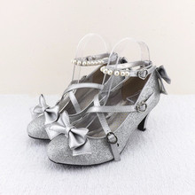 HoneyCherry Plum small liner genuine leather cross-strap pumps Princess bow lolita shoes gold silver shoes Shining womens shoes(China (Mainland))