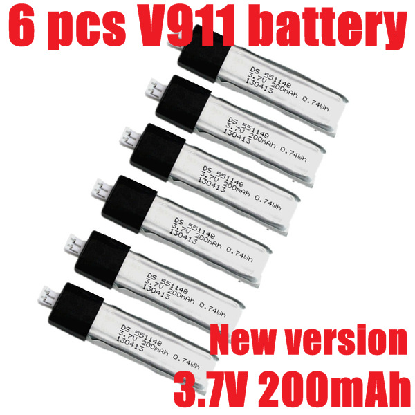 6x Accessories Upgrade New Version Battery 3.7V 200mAh WL Wltoys V911 -1 -2 2.4Ghz RC Helicopter Spare Parts - Shuang He International Trade Co. , Ltd store