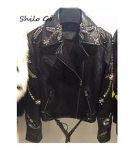 Leather jacket women 2016 new fashion Heavy diamond flowers sheep skin leather coat women short motorcycle leather clothing(China (Mainland))