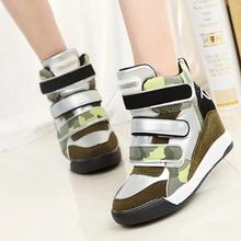 hot 2015 marant shoes women wedge sneakers women Height Increasing Leather wedge high heel sneakers high