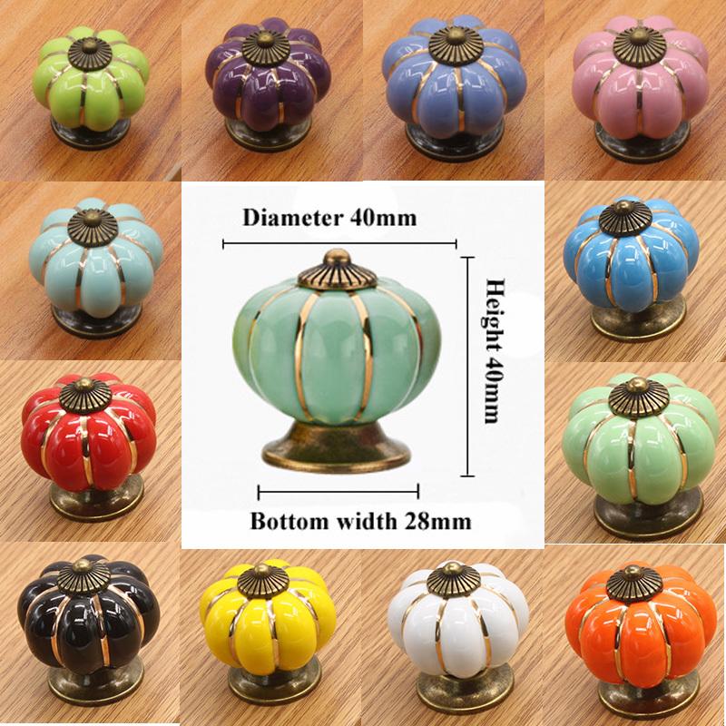 2pcs 40mm Ceramic Pumpkin Door Handle Pull Knobs Cabinet Door Cupboard Drawer Locker Antique Bronze Zinc Alloy Base(China (Mainland))