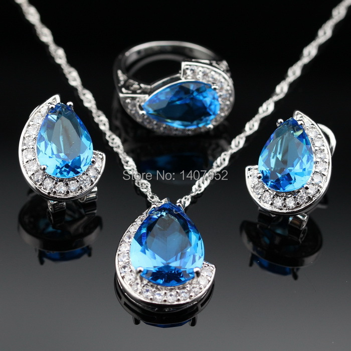 water drop navy blue whitetopaz silver jewelry sets for