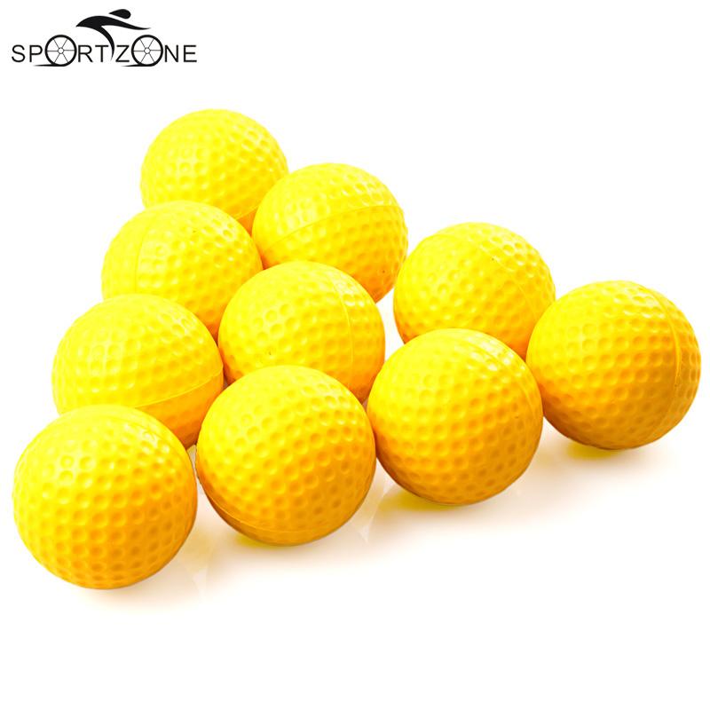 10pcs/pack Yellow Soft Elastic Practice Golf Balls Indoor Practice PU Golf Balls Training Aid Suitable For Children(China (Mainland))