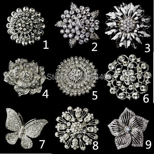 Mixed Style Vintage Look Rhodium Silver Plated Clear Rhinestone Crystal Diamante Bouquet Wedding Brooch Party Prom Pins - Yiwu Liangqian Accessories Firm (Mini Order>$8 store)