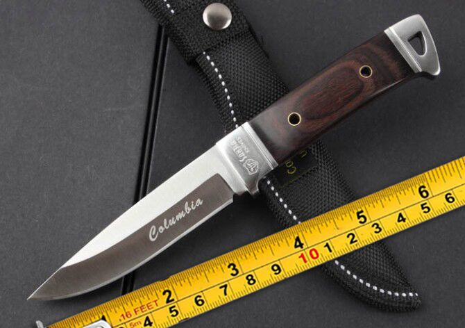 Newest!outdoor camping fixed Blade knife Hunting knife color wood Handle men's boutique necessary tools(China (Mainland))