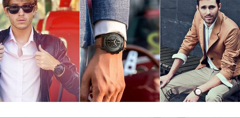 Парнис Пилот Seriers Светящиеся Мужские Кожаный Ремешок Военно-Спортивный Хронограф Кварцевые Часы Наручные Часы