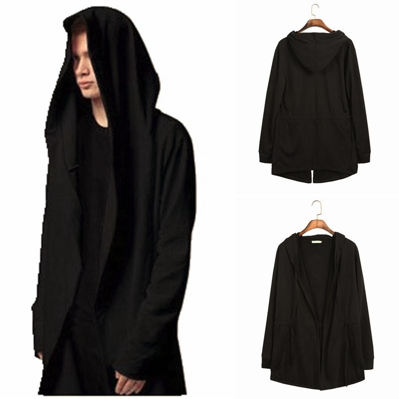 Europe&america Style New Hoody Sweatshirts Cloak Long Sleeves Men Shawl Outwear Streetwear Style Hoody Men's Plus Long Hoodies(China (Mainland))