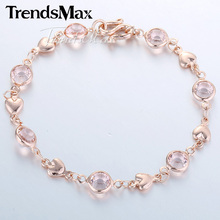 6mm 17.7cm Womens Chain Ladies Girls Heart Love Link Bead Crystal Rose Gold Filled Bracelet Wholesale Jewelery Gift GB261(Hong Kong)