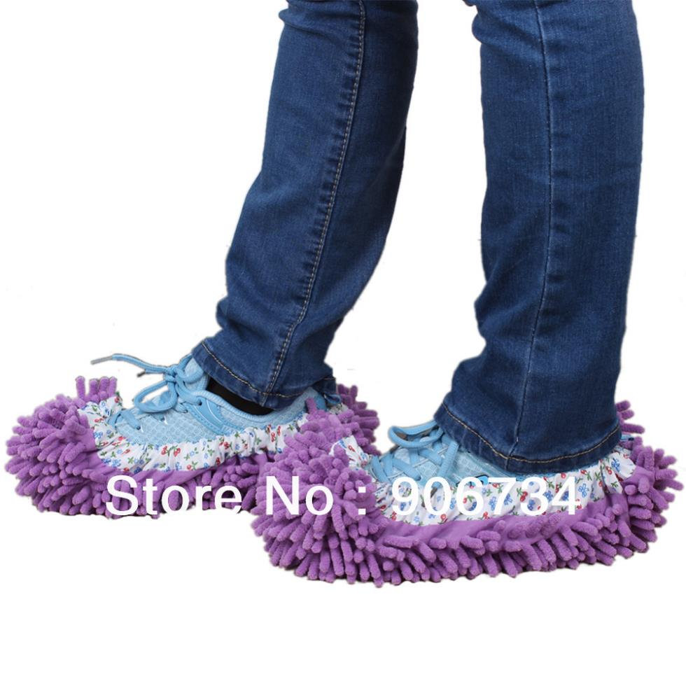 New Free ShippingNew Arrival Mop Slippers Floor Polishing Cover Cleaner Dusting Cleaning Foot Shoes For Home(China (Mainland))