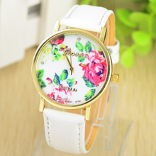 New Fashion Leather GENEVA Rose Flower Watch For Women Dress Watch stylish Quartz Watches free shipping