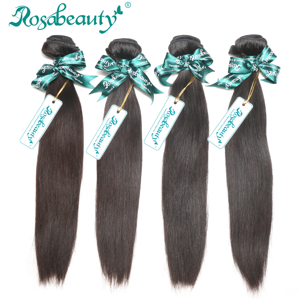 Rosa Hair Brazilian Virgin Hair Straight 4 Bundles Lot Grade 6A 100% Unprocessed Human Hair Straight Brazilian Straight Hair(China (Mainland))