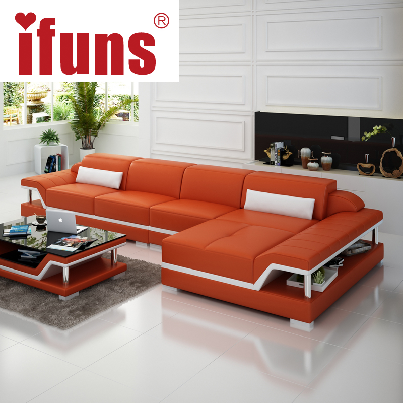 IFUNS Chaise Sofa Set Living Home Furniture Modern Design Genuine Leather Sec