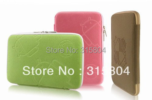 Free shipping, 7 inch tablet PC bag with zipper, Android robot style soft bag, multi color,10 pcs 1 lot.