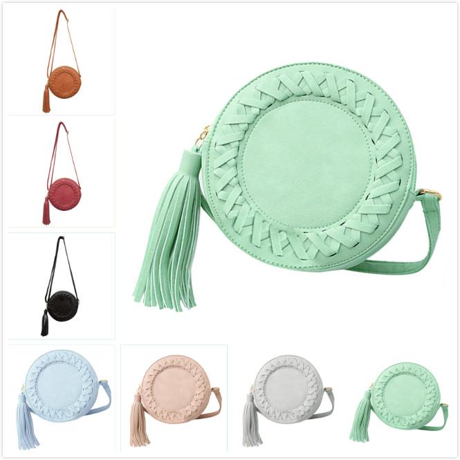 VSEN New Fashion women bag tassel Round weave Crossbody Bag Messenger Bag Ladies Cute roll Shoulder Bag 7 colors(China (Mainland))
