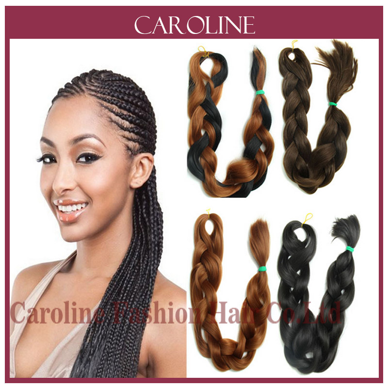 Braiding Kinky Twist Hair Two Tone Xpression Jumbo Braid Hair Synthetic Braiding Highlights For Black Women 315(China (Mainland))