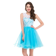 Grace Karin Sleeveless Short Puffy Cocktail Dresses 2016 Lace Tulle Vestidos De Coctel Homecoming Dresses 6123(China (Mainland))