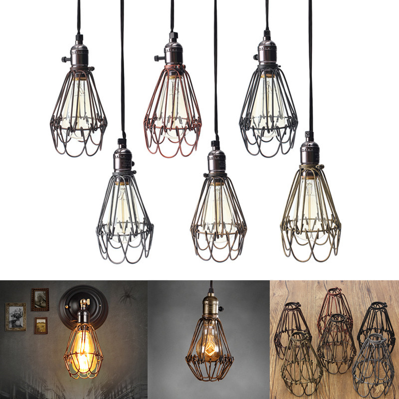 Wholesale retro vintage industrial lamp covers pendant trouble light cheap shades of yellow colors buy quality lamp shade modern directly from china lamp umbrella suppliers feature vintage style lamp and pendant cage that greentooth Gallery