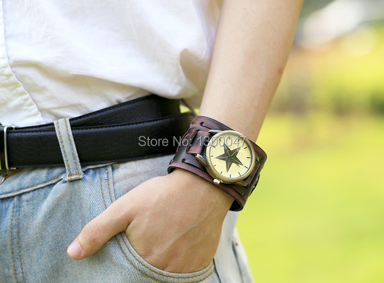 Retro Leather pointer Watch Bracelet Dress Watches Men And Women Casual Wide Leather Bangle Watch Free