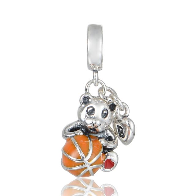 925 - серебристо-ювелирные бусины медведь с эмалью мяч бусины Fit Chamilia пандора браслеты серебро 925 мода DIY