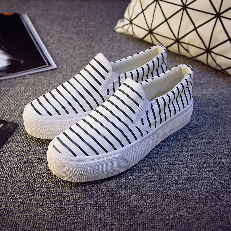 New spring and summer 2015 stripe thick soled canvas shoes to help low female Korean loafer pedal shoes women<br><br>Aliexpress
