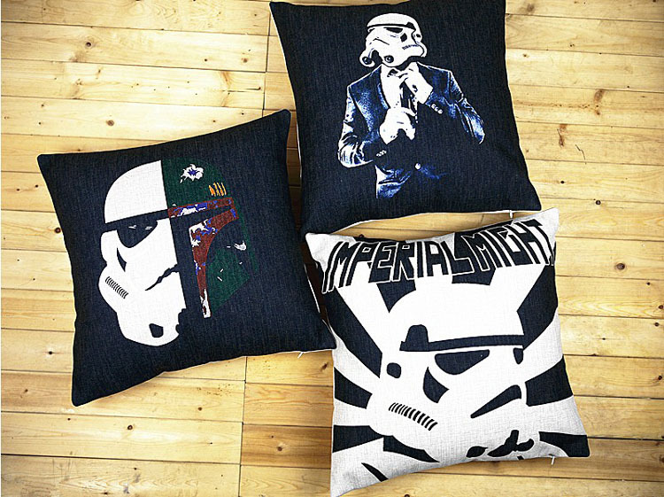 3pcs/set 18 inch Square Star Wars Cotton Linen Cushion Cover Sofa Decorative Throw Pillow Home Car Chair Case almofadas - HYSUN GIFTS store
