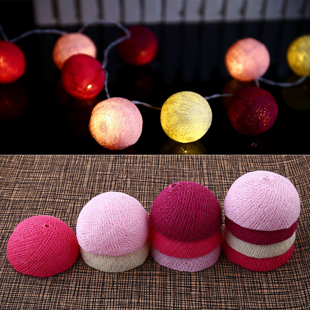 Xmas Cotton 10 Ball Fairy LED 1.8M String Light Party Outdoor Indoor Decor White+Pink+Dark Gifts*Holiday Lighting(China (Mainland))