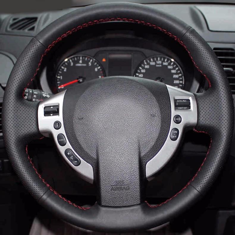 Купить Бесплатная Доставка Ручное шитье все кожаный руль охватывает для Nissan Qashqai X-TRAIL NV200