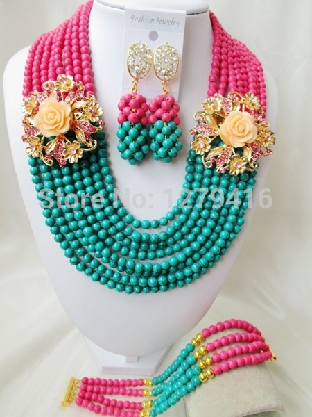 2015 Jewelry Sets Among The American, Europe, Nigeria, Africa, Wedding Jewelry, Turquoise Necklace, Bracelet And Earring T-144(China (Mainland))
