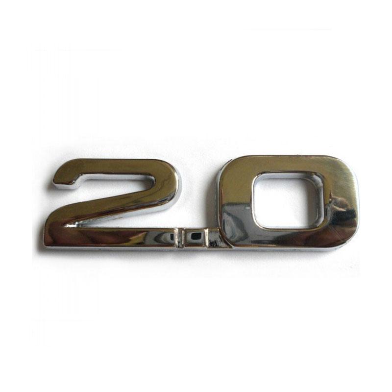 (20pieces/lot) Wholesale Metal automobile emissions 2.0 Chrome car badges Emblems Number Figure stickers(China (Mainland))