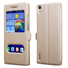 For Huawei Ascend P7 Case 5 Colors Luxury PU Flip Leather Case For Huawei P7 Cover Phone Cases Stand Window Case