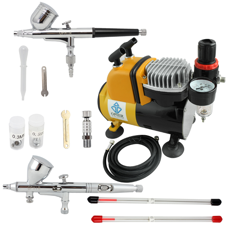 OPHIR Pro Dual Action Airbrush Compressor Kit with Air Tank for Cake Decorating Model Hobby Tattoo Nail Art _AC053+AC004+AC070