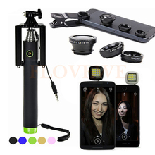 Buy Phone Lentes Kit Universal Clip Macro Wide Angle Lenses Fisheye lens iPhone Samsung Selfie Stick Monopod Selfie Flash Light for $10.75 in AliExpress store