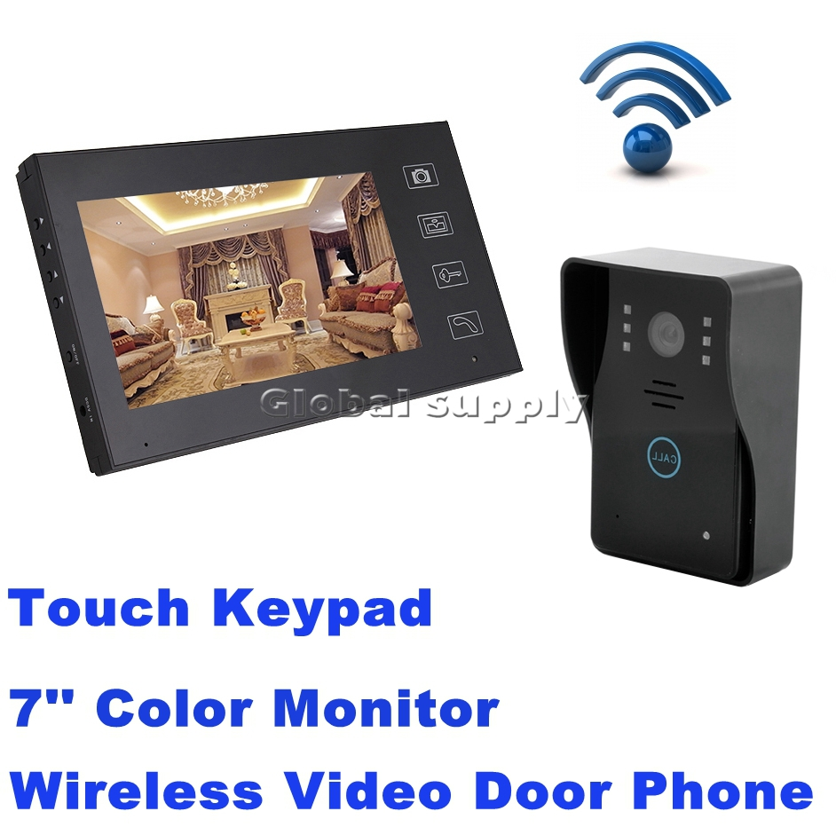 Wireless 7 inch LCD Video Door Phone Doorbell Intercom Doorbell Home Security IR Camera Monitor Free Shipping(China (Mainland))