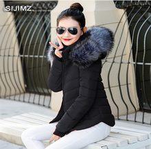 Chaqueta de invierno mujer Parkas para abrigo moda femenina chaqueta de plumón con capucha abrigo con cuello de piel de imitación 2019 otoño prendas de vestir señoras(China)