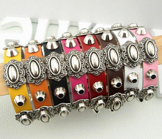 Min order $15 Wholesale fashion PUNK cow leather Retro charm bracelets bangles black red white rose orange yellow pink free(China (Mainland))
