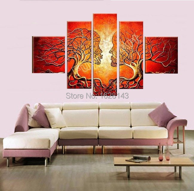 hand made modern abstract oil painting ideas home decoration canvas art  kiss pictures for bedroom living. Bedroom Canvas Art